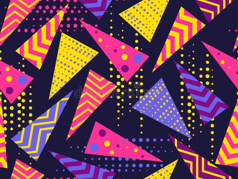 Άνευ ραφής σχέδιο της Μέμφιδας Γεωμετρικά στοιχεία Μέμφιδα στο ύφος 80 ` s διάνυσμα απεικόνιση αποθεμάτων