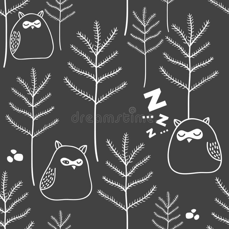Άνευ ραφής σχέδιο της νύχτας στη δασώδη περιοχή με τις χαριτωμένες κουκουβάγιες διανυσματική απεικόνιση