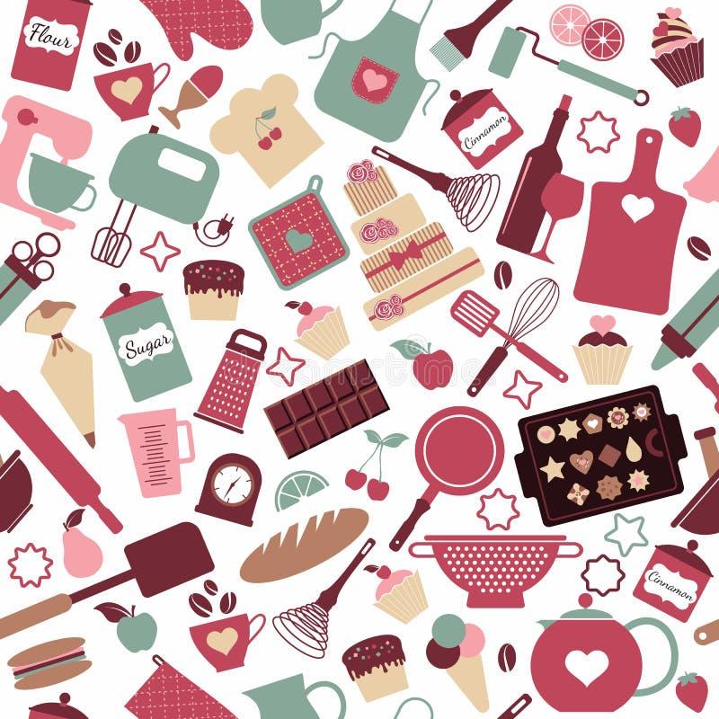 Άνευ ραφής σχέδιο του αρτοποιείου διανυσματική απεικόνιση