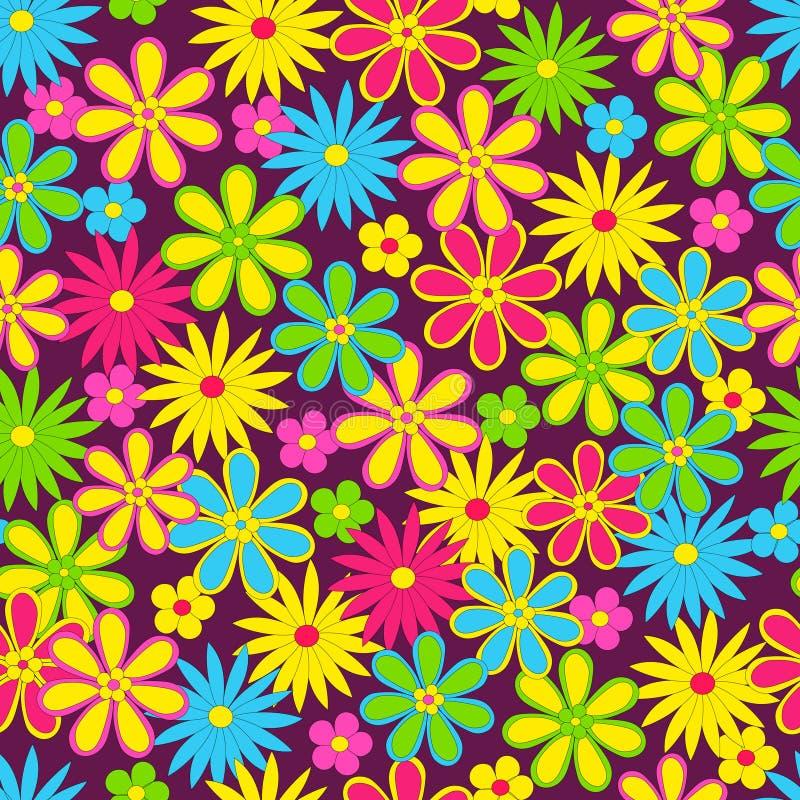Άνευ ραφής, σχέδιο του ζωηρόχρωμου λουλουδιού διανυσματική απεικόνιση
