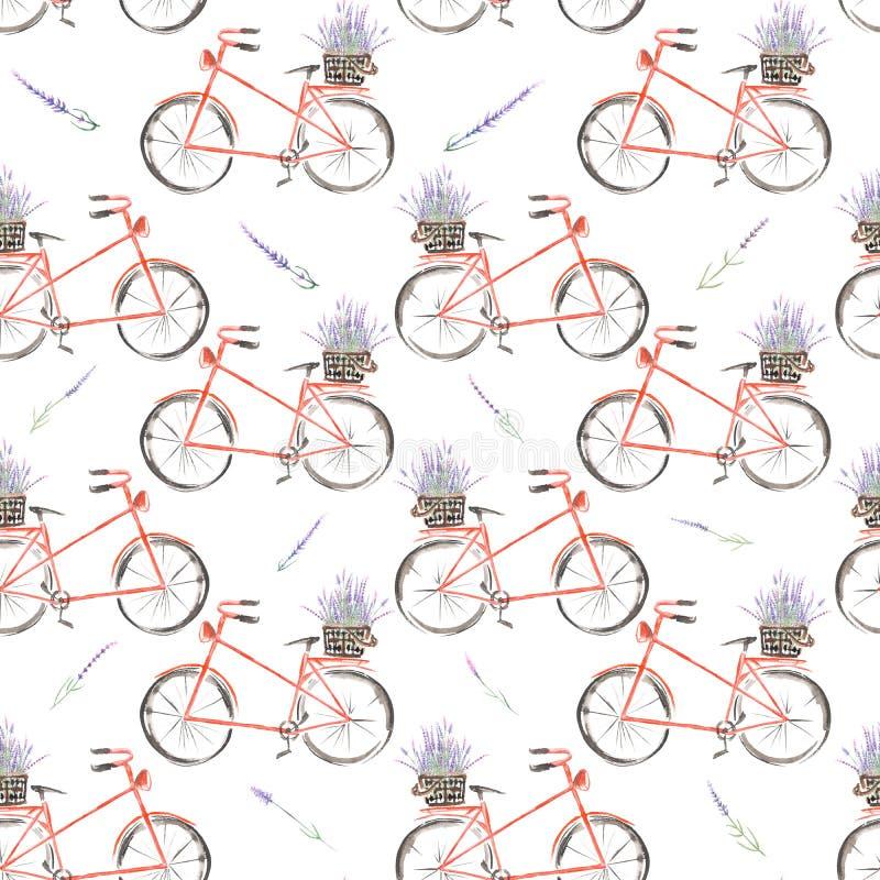 Άνευ ραφής σχέδιο του κόκκινου ποδηλάτου watercolor με το καλάθι lavender των λουλουδιών διανυσματική απεικόνιση