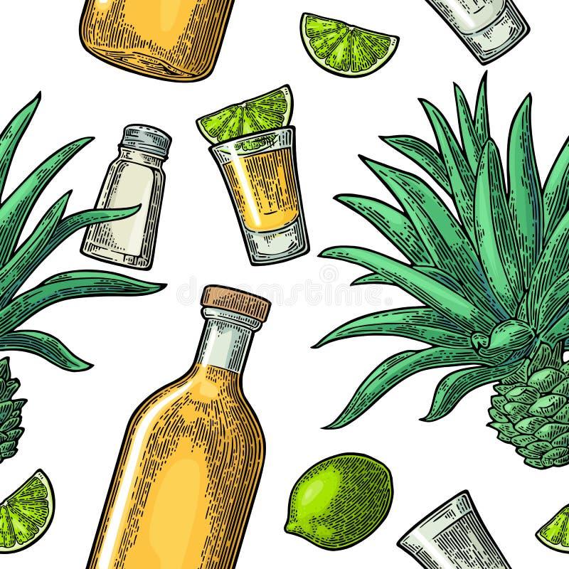 Άνευ ραφής σχέδιο του μπουκαλιού, του tequila γυαλιού, του άλατος, του κάκτου και του ασβέστη διανυσματική απεικόνιση
