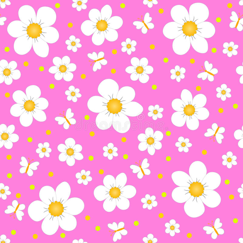 Άνευ ραφής, σχέδιο του λουλουδιού και πεταλούδα ελεύθερη απεικόνιση δικαιώματος