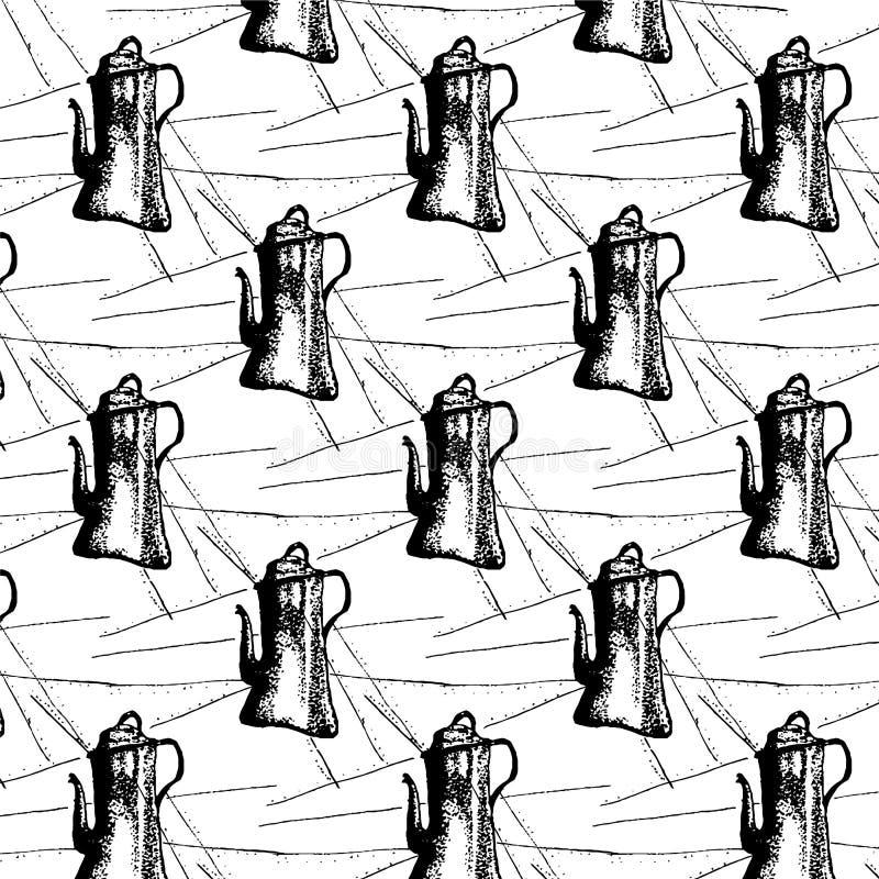 Άνευ ραφής σχέδιο του δοχείου ή της κατσαρόλας coffe Χέρι που σύρεται με το μελάνι επίσης corel σύρετε το διάνυσμα απεικόνισης ελεύθερη απεικόνιση δικαιώματος