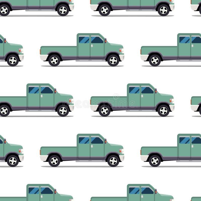 Άνευ ραφής σχέδιο του πράσινου ανοιχτού φορτηγού διανυσματική απεικόνιση