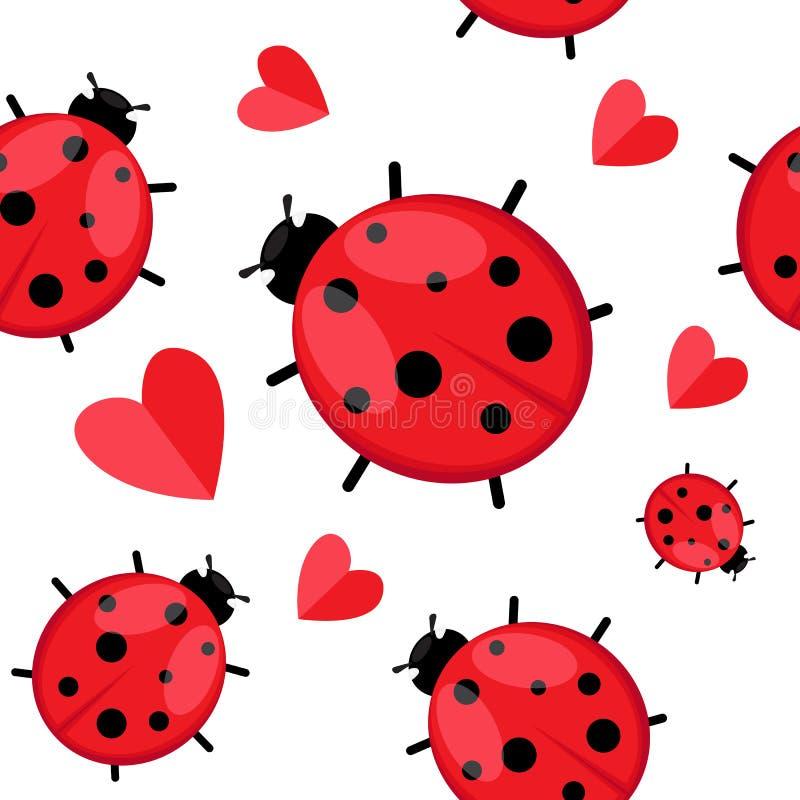 Άνευ ραφής σχέδιο το ladybug που απομονώνεται με στο λευκό Διανυσματικό EPS 10 ελεύθερη απεικόνιση δικαιώματος