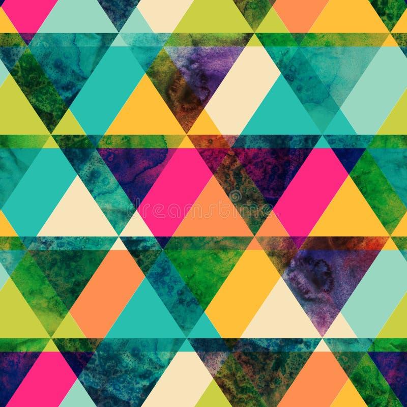 Άνευ ραφής σχέδιο τριγώνων Watercolor. Σύγχρονο hipster άνευ ραφής π ελεύθερη απεικόνιση δικαιώματος