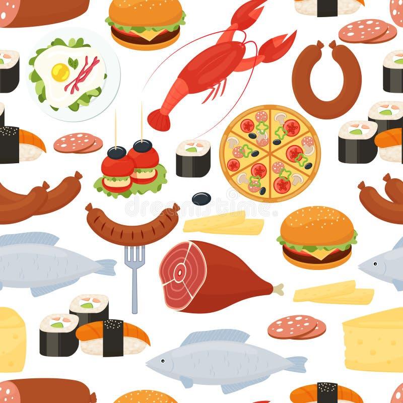 Άνευ ραφής σχέδιο τροφίμων στο επίπεδο ύφος ελεύθερη απεικόνιση δικαιώματος