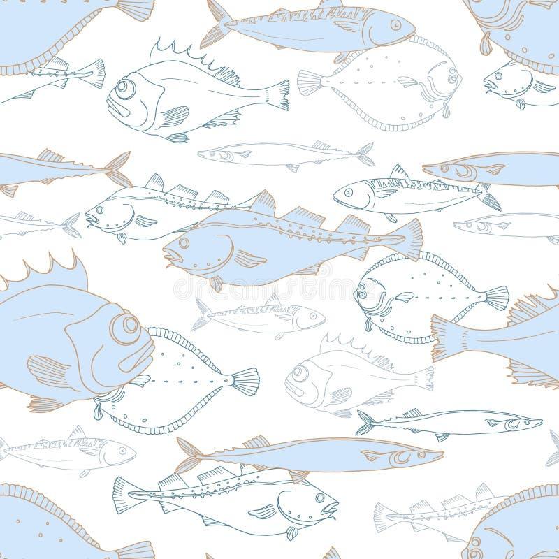Άνευ ραφής σχέδιο των άσπρων και μπλε ψαριών θάλασσας Πέρκα, βακαλάος, scomber, σκουμπρί, πλευρονήκτης, saira διάνυσμα doodle διανυσματική απεικόνιση