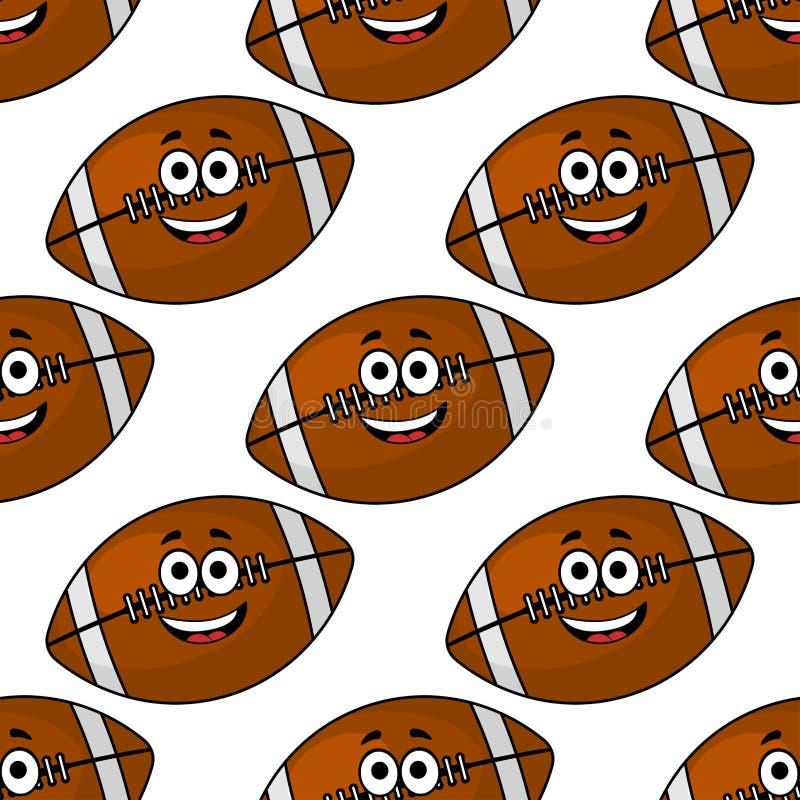 Άνευ ραφής σχέδιο των αμερικανικών ποδοσφαίρων κινούμενων σχεδίων απεικόνιση αποθεμάτων