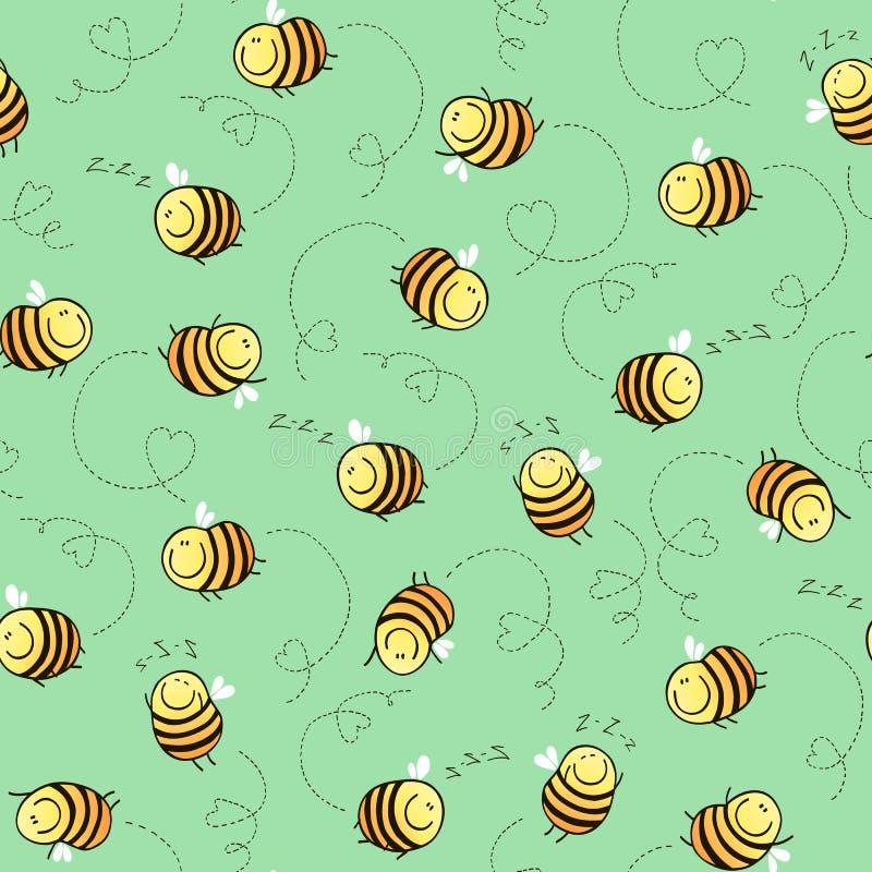 Άνευ ραφής σχέδιο των αστείων μελισσών ελεύθερη απεικόνιση δικαιώματος