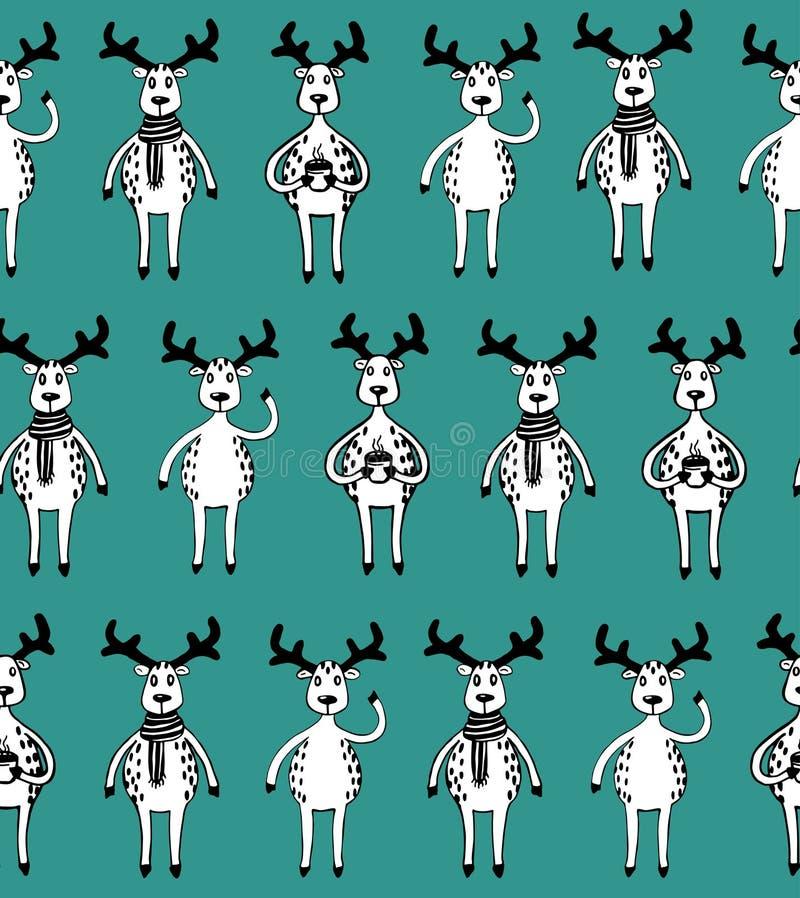 Άνευ ραφής σχέδιο των αστείων deers σκίτσων διανυσματική απεικόνιση