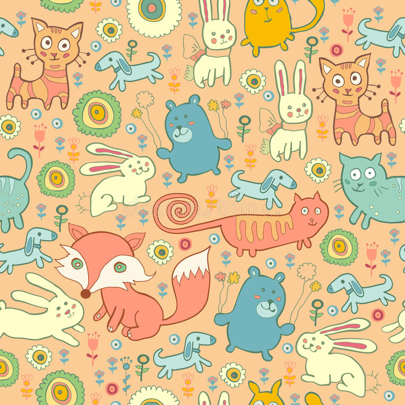 Άνευ ραφής σχέδιο των γατών, των αλεπούδων, και των κουνελιών doodle απεικόνιση αποθεμάτων