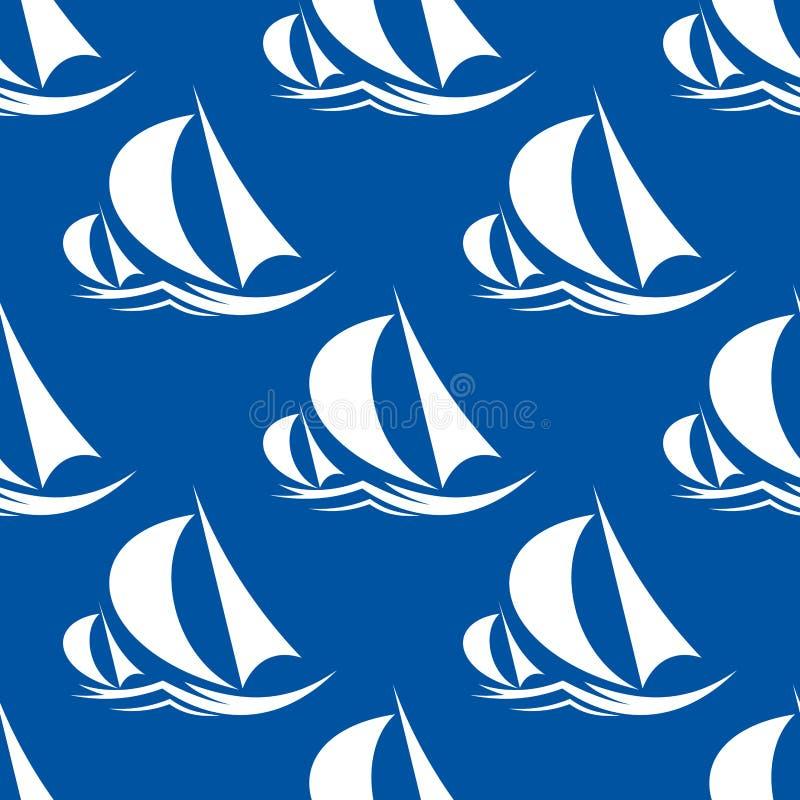 Άνευ ραφής σχέδιο των γιοτ και του πλέοντας σκάφους απεικόνιση αποθεμάτων