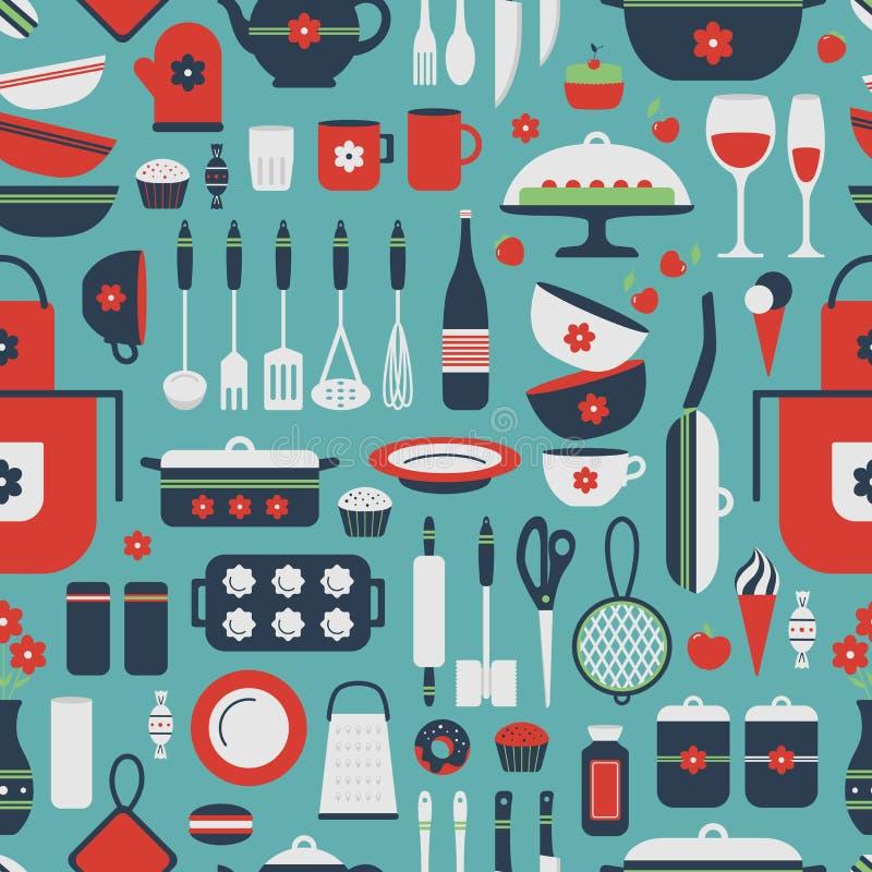 Άνευ ραφής σχέδιο των εργαλείων κουζινών απεικόνιση αποθεμάτων