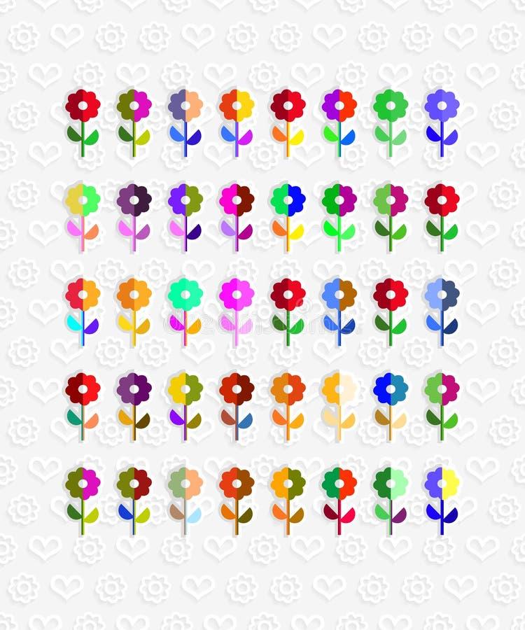 Άνευ ραφής σχέδιο των ζωηρόχρωμων λουλουδιών σε αναδρομικό απεικόνιση αποθεμάτων