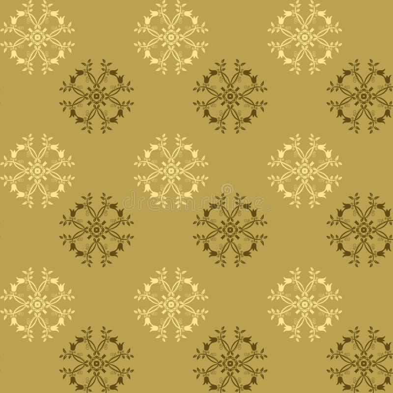 Άνευ ραφής σχέδιο των ιδιότροπων λουλουδιών στους καφετιούς και χρυσούς τόνους στοκ φωτογραφία με δικαίωμα ελεύθερης χρήσης