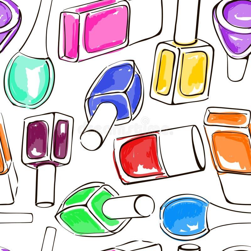 Άνευ ραφής σχέδιο των μπουκαλιών στιλβωτικής ουσίας καρφιών απεικόνιση αποθεμάτων