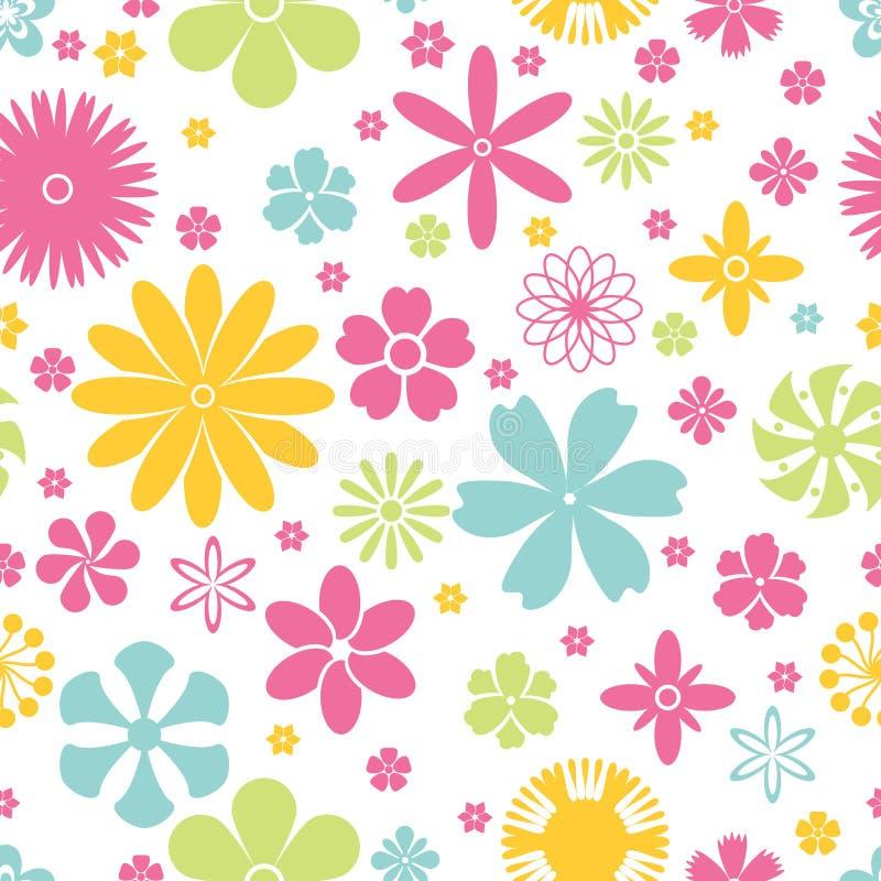 Άνευ ραφής σχέδιο των λουλουδιών άνοιξης και καλοκαιριού διανυσματική απεικόνιση