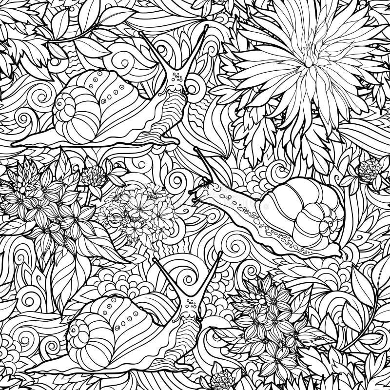 Άνευ ραφής σχέδιο των λουλουδιών και των σαλιγκαριών ελεύθερη απεικόνιση δικαιώματος