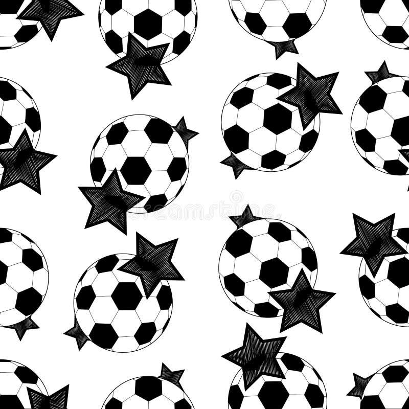 Άνευ ραφής σχέδιο των σφαιρών και των αστεριών ποδοσφαίρου διάνυσμα διανυσματική απεικόνιση