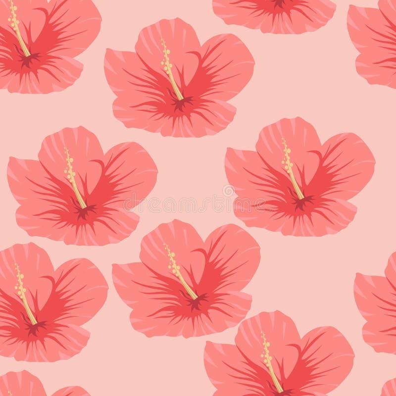 Άνευ ραφής σχέδιο των τροπικών ρόδινων hibiscus λουλουδιών ελεύθερη απεικόνιση δικαιώματος