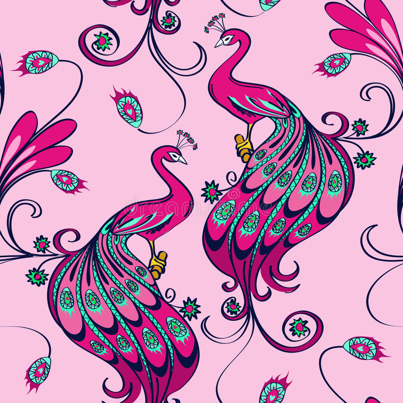 Άνευ ραφής σχέδιο των peacocks ελεύθερη απεικόνιση δικαιώματος