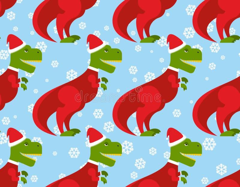 Άνευ ραφής σχέδιο τ-Rex Άγιος Βασίλης Σκηνικό δεινοσαύρων Χριστουγέννων απεικόνιση αποθεμάτων