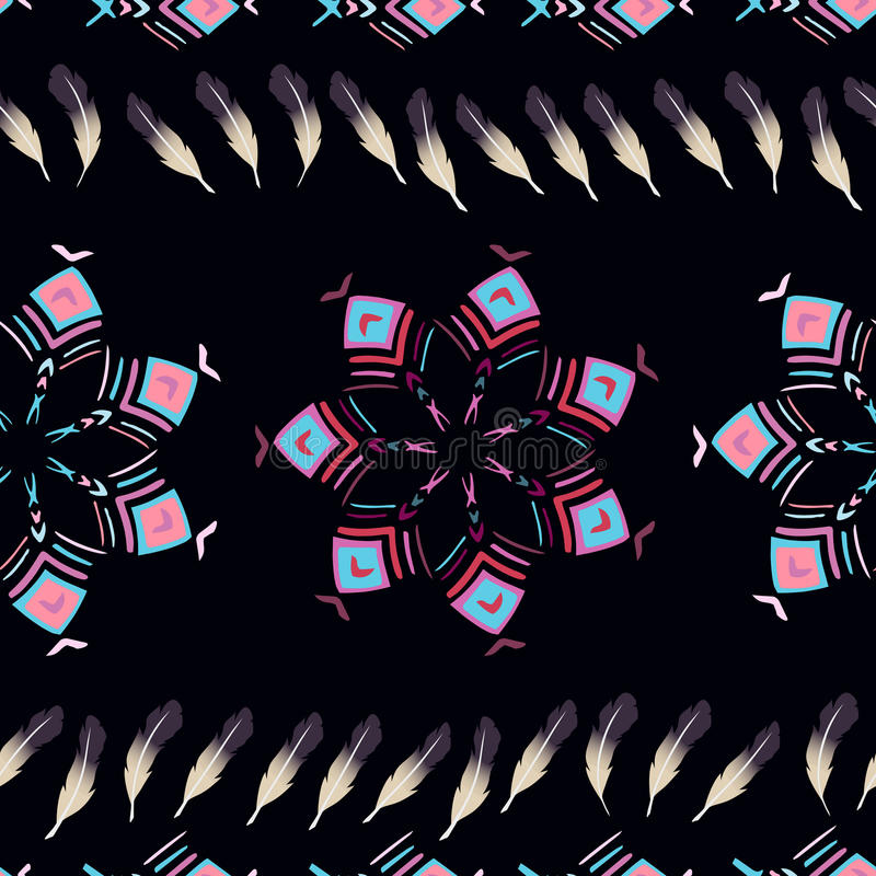 Άνευ ραφής σχέδιο υποβάθρου με τα γεωμετρικά σχέδια και τα φτερά διανυσματική απεικόνιση