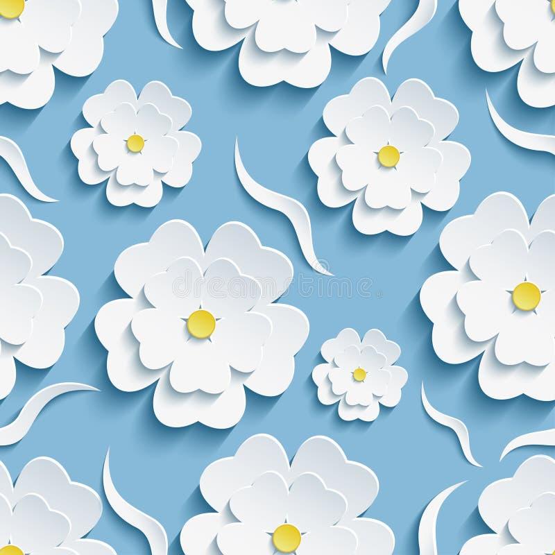 Άνευ ραφής σχέδιο υποβάθρου με το sakura και τα κύματα διανυσματική απεικόνιση