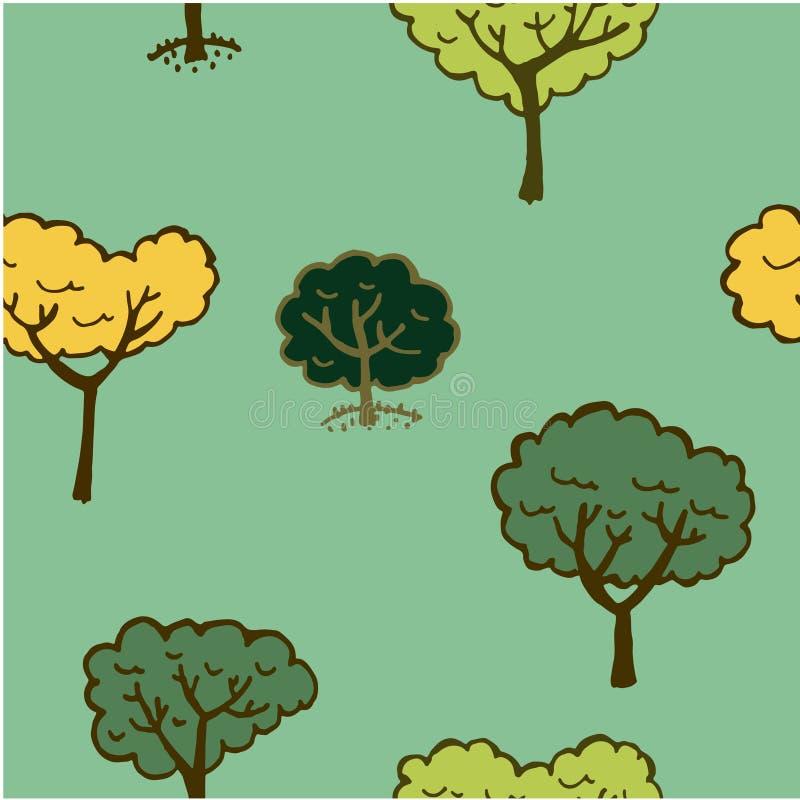 Άνευ ραφής σχέδιο υποβάθρου των ζωηρόχρωμων δέντρων στις διαφορετικές εποχές σε ένα ανοικτό πράσινο hand-drawn illustrati υποβάθρ διανυσματική απεικόνιση