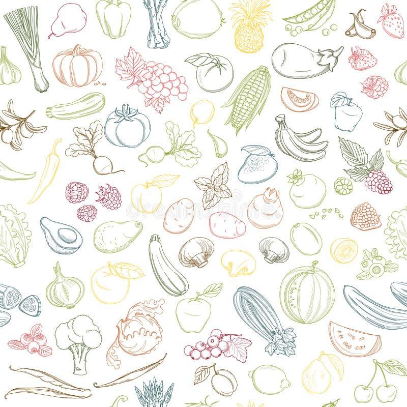 Άνευ ραφής σχέδιο υποβάθρου των οργανικών αγροτικών φρέσκων φρούτων και λαχανικών απεικόνιση αποθεμάτων