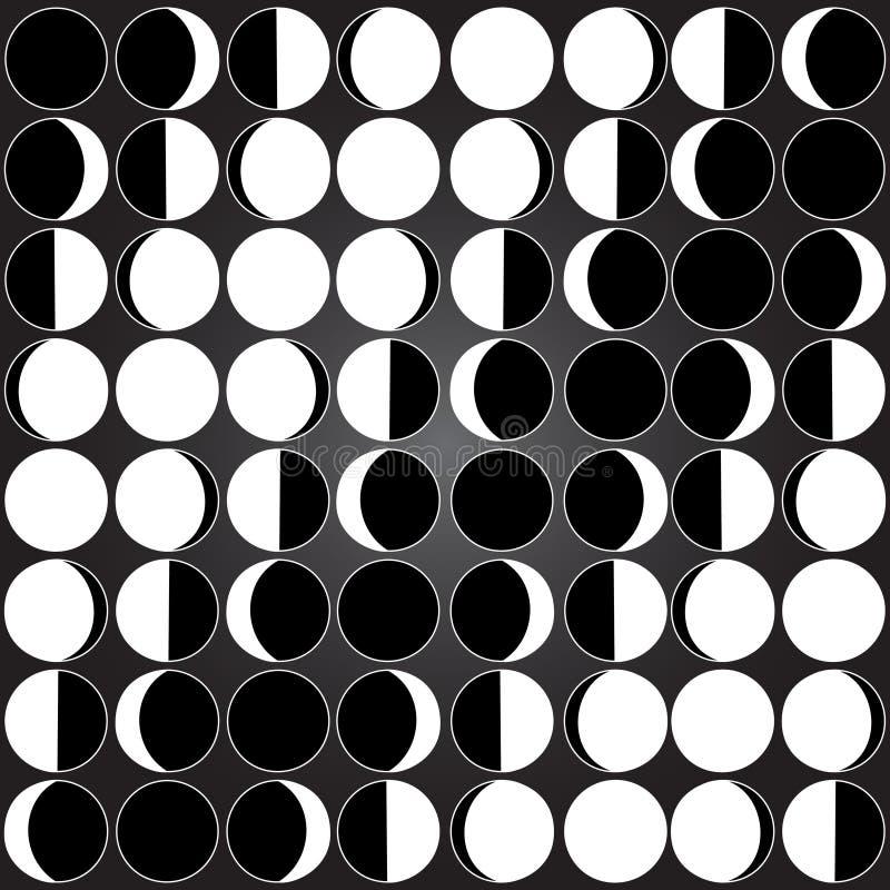 Άνευ ραφής σχέδιο υποβάθρου φεγγαριών με το διαφορετικό σεληνιακό άνευ ραφής υπόβαθρο φάσεων φεγγαριών ελεύθερη απεικόνιση δικαιώματος