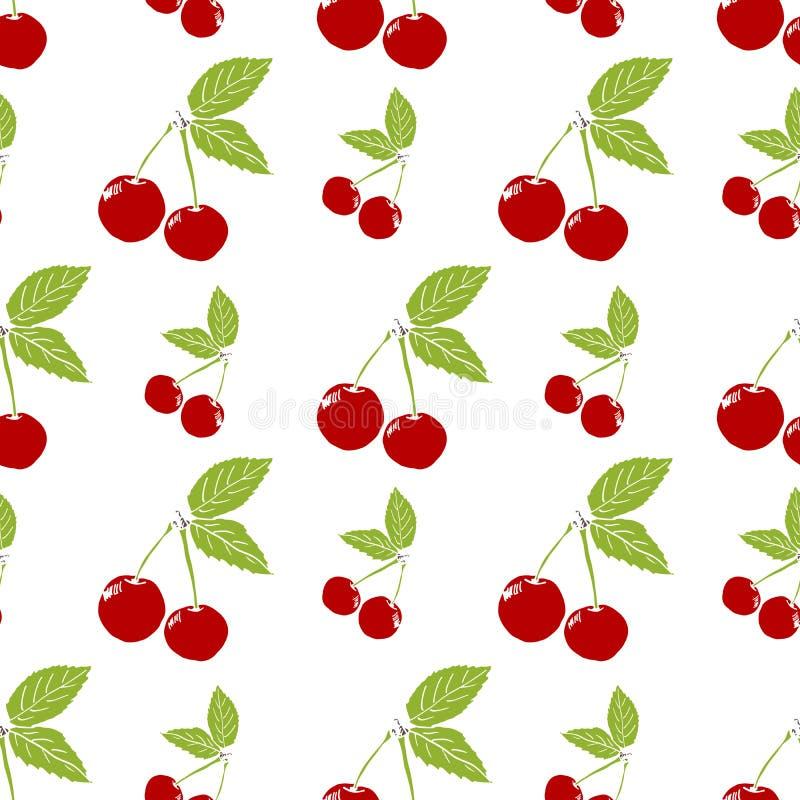 Άνευ ραφής σχέδιο υποβάθρου φρούτων με συρμένη τη χέρι διανυσματική απεικόνιση κερασιών σκίτσων διανυσματική απεικόνιση