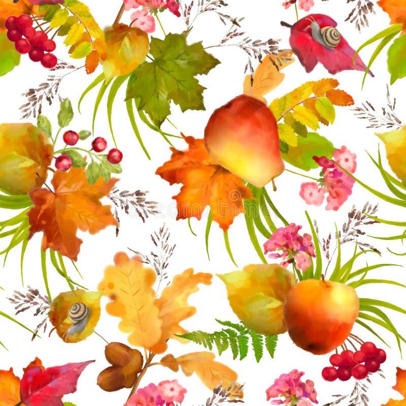 Άνευ ραφής σχέδιο φθινοπώρου Watercolor ελεύθερη απεικόνιση δικαιώματος
