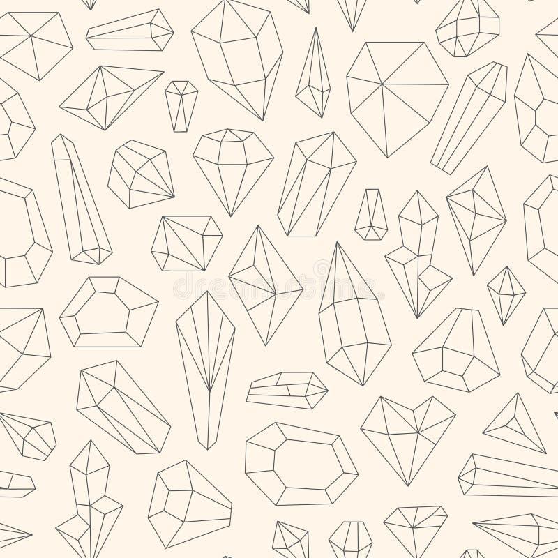 Άνευ ραφής σχέδιο φιαγμένο από κρύσταλλα τέχνης γραμμών ελεύθερη απεικόνιση δικαιώματος