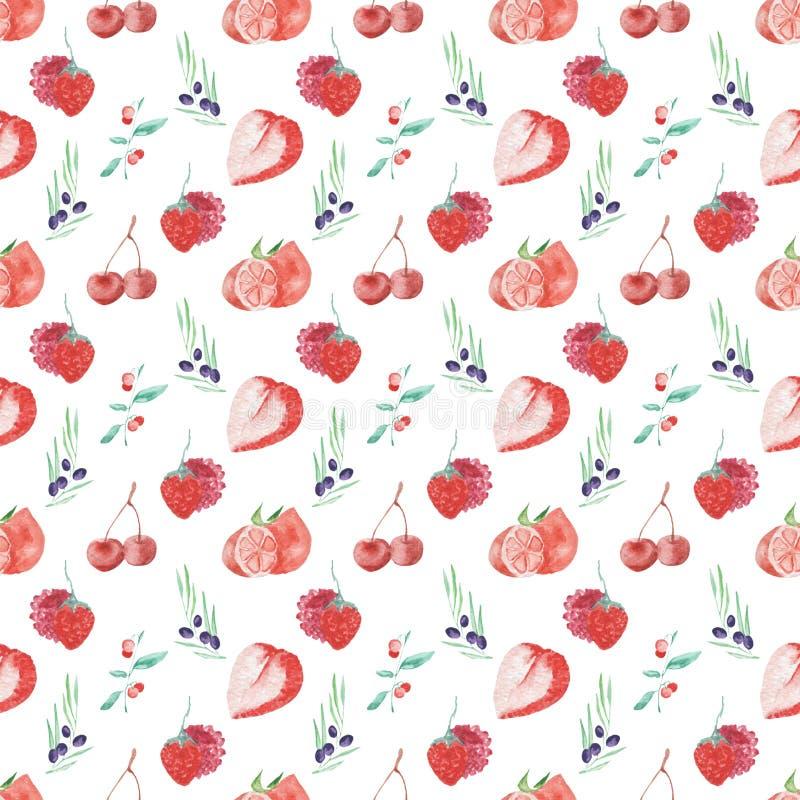 Άνευ ραφής σχέδιο φρούτων και μούρων σχεδίων Watercolor στο άσπρο υπόβαθρο διανυσματική απεικόνιση