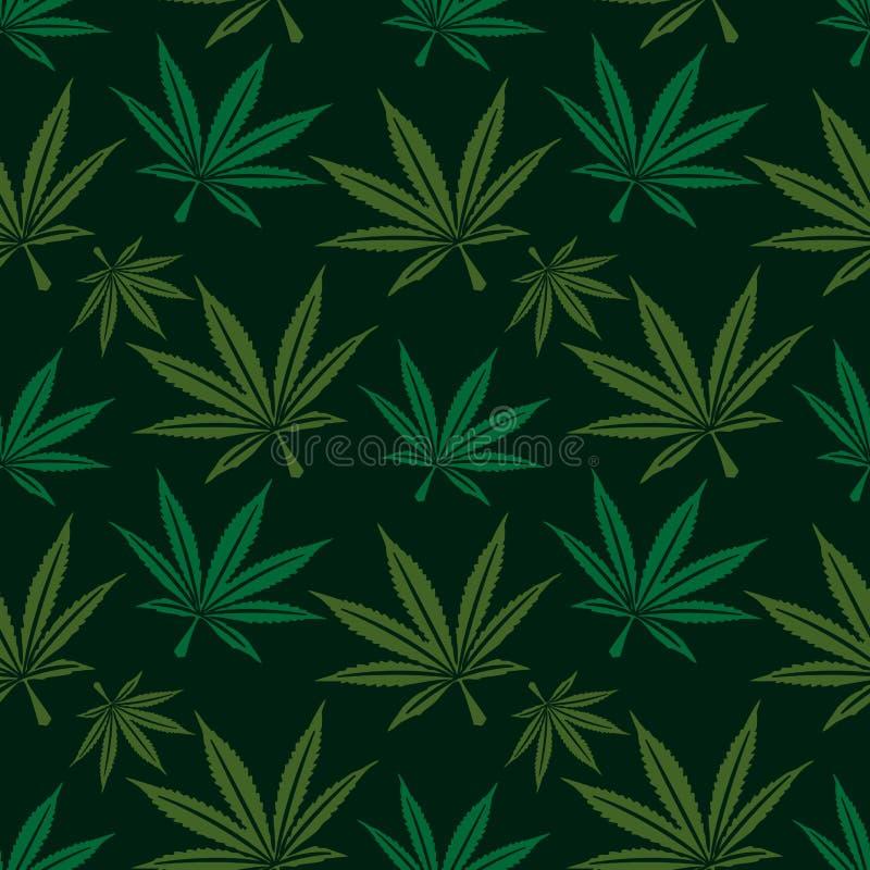 Άνευ ραφής σχέδιο φύλλων μαριχουάνα απεικόνιση αποθεμάτων