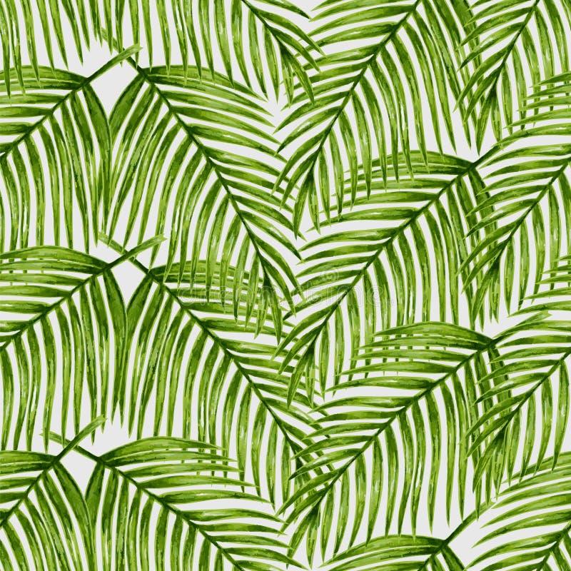 Άνευ ραφής σχέδιο φύλλων φοινικών Watercolor τροπικό διανυσματική απεικόνιση