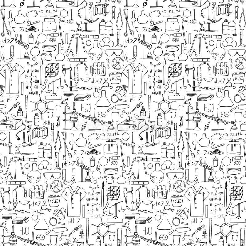 Άνευ ραφής σχέδιο χημείας doodle απεικόνιση αποθεμάτων