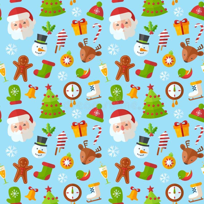 Άνευ ραφής σχέδιο Χριστουγέννων με επίπεδο Santa, ελάφια, μελόψωμο ελεύθερη απεικόνιση δικαιώματος