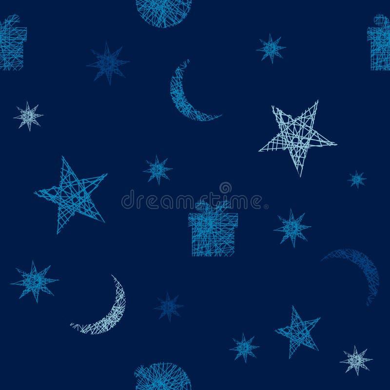 Άνευ ραφής σχέδιο Χριστουγέννων, σκούρο μπλε διανυσματική απεικόνιση