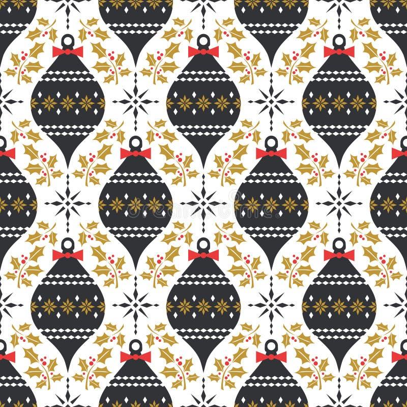 Άνευ ραφής σχέδιο Χριστουγέννων στο εκλεκτής ποιότητας ύφος απεικόνιση αποθεμάτων