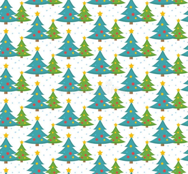 Άνευ ραφής σχέδιο χριστουγεννιάτικων δέντρων, ατελείωτο υπόβαθρο, σύσταση Νέο σκηνικό έτους s επίσης corel σύρετε το διάνυσμα απε απεικόνιση αποθεμάτων
