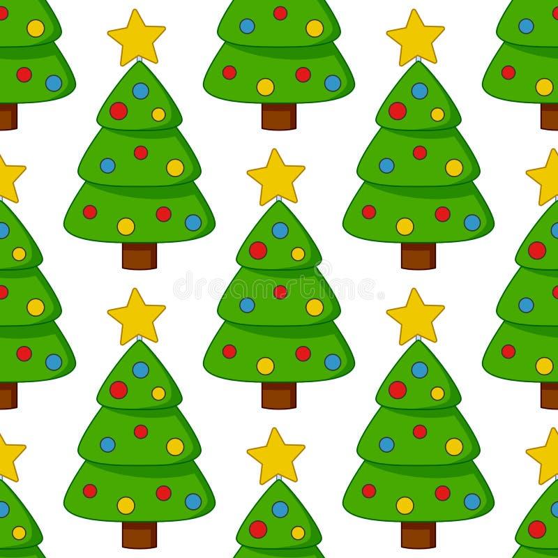 Άνευ ραφής σχέδιο χριστουγεννιάτικων δέντρων κινούμενων σχεδίων διανυσματική απεικόνιση