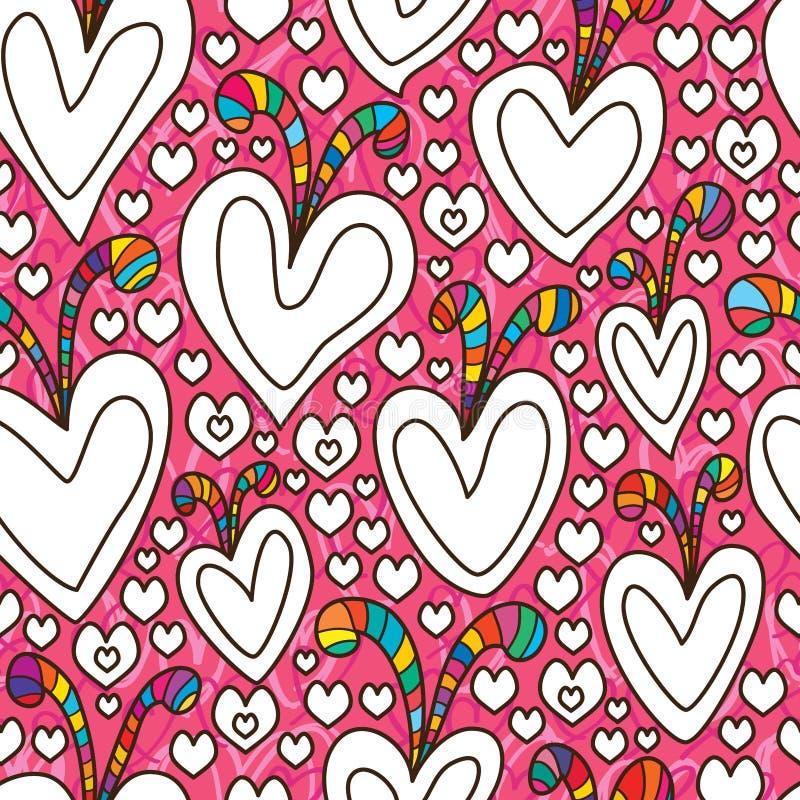 Άνευ ραφής σχέδιο χρωματισμού αγάπης χαριτωμένο ελεύθερη απεικόνιση δικαιώματος