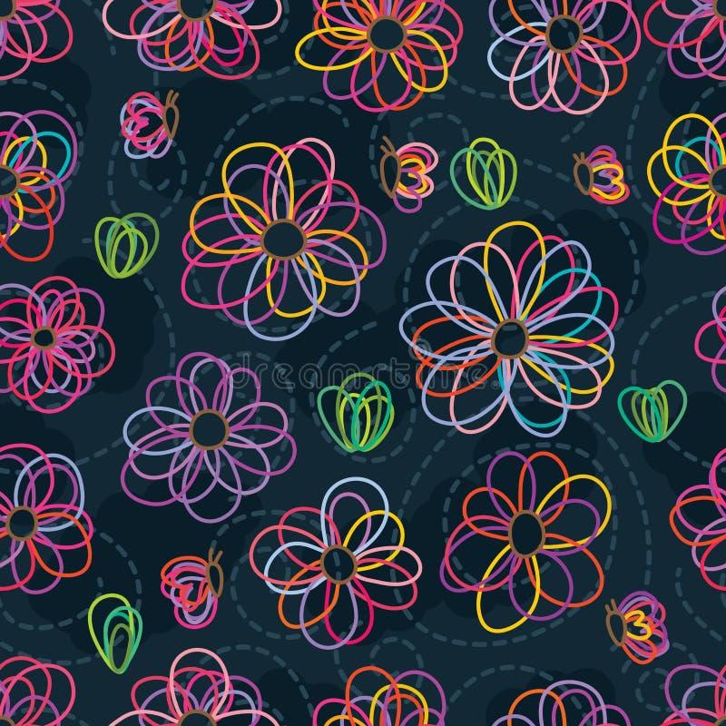 Άνευ ραφής σχέδιο χρώματος κρητιδογραφιών γραμμών λουλουδιών διανυσματική απεικόνιση