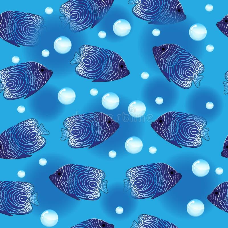 Άνευ ραφής σχέδιο ψαριών αγγέλου, υποβρύχιο υπόβαθρο, ταπετσαρία θάλασσας επίσης corel σύρετε το διάνυσμα απεικόνισης ελεύθερη απεικόνιση δικαιώματος