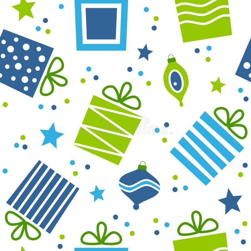 Άνευ ραφής σχέδιο δώρων Χριστουγέννων απεικόνιση αποθεμάτων