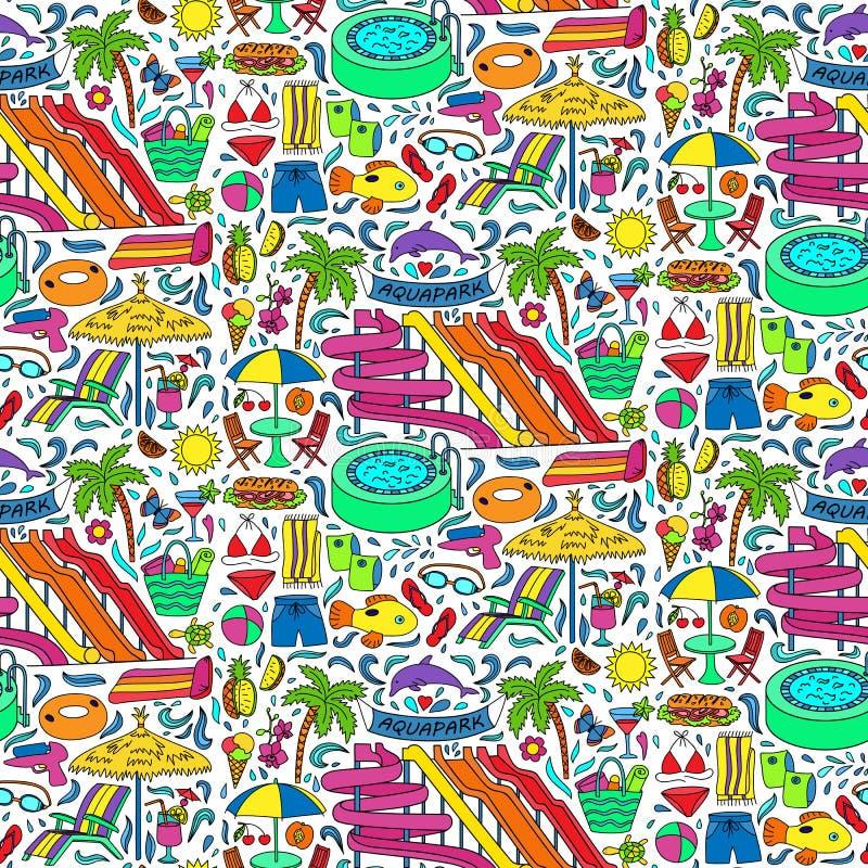 Άνευ ραφής σχέδιο Aquapark doodle απεικόνιση αποθεμάτων